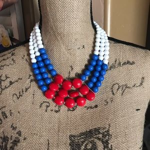 Necklace short red white blue NWOT